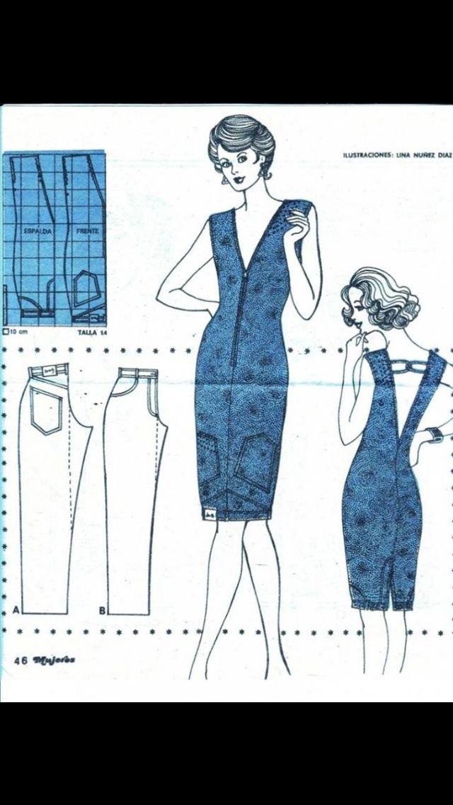 Super Naai ideetje: een jurk maken van een oude broek.   Fabric projects WN-05