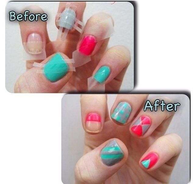 Easy Tape Designs Nails Pinterest
