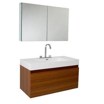 Fresca Senza Mezzo Modern 39 Single Bathroom Vanity Set With Mirror Base Finish Teak Teak Bathroom Teak Bathroom Vanity Modern Bathroom Vanity