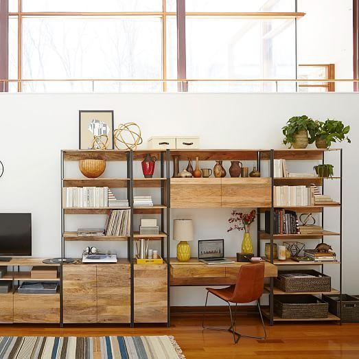 Industrial Modular 33 Quot Open Closed Storage Industrial Design Furniture Shelving Design Modular Furniture