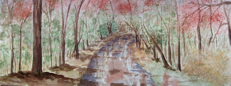 spring rain watercolor painting