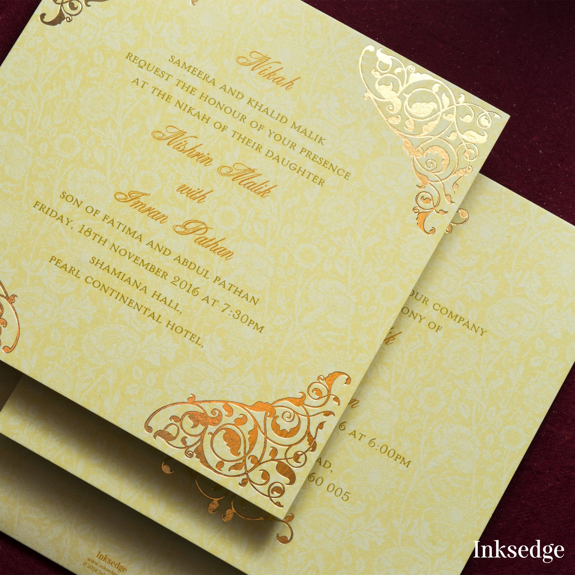 muslim wedding invitations mumbai%0A Foiled border on square invitations only by Inksedge   inksedge   islamicwedding  islamicweddinginvitations