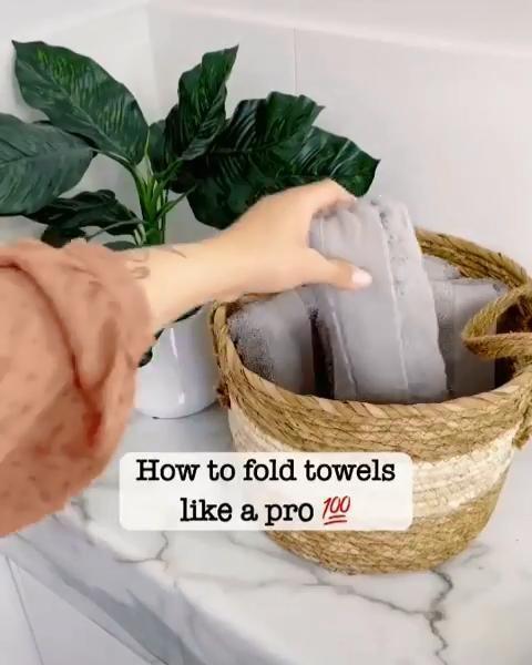 Folded hand towels bathroom