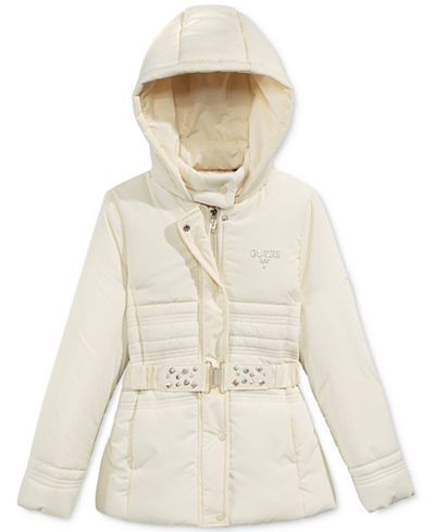 GUESS Hooded Puffer Jacket, Big Girls (7-16) - Coats & Jackets ...