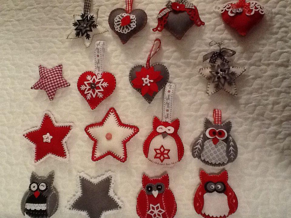 Kerst decoraties voor in de boom van vilt