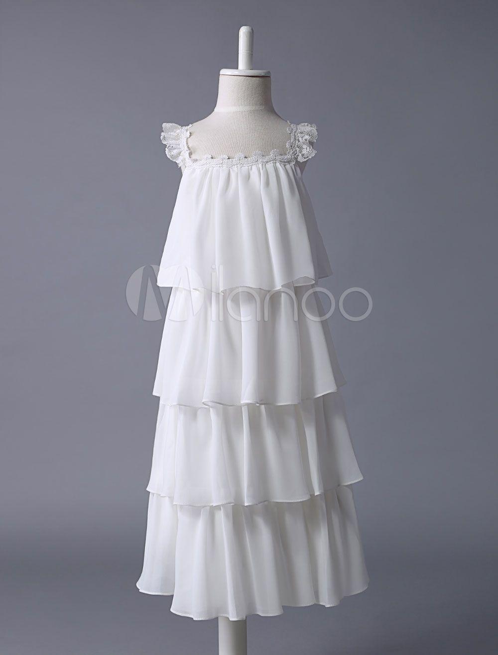 Elfenbein gestuften Spitzen Chiffon Hochzeit Blumenmädchen Kleid ...