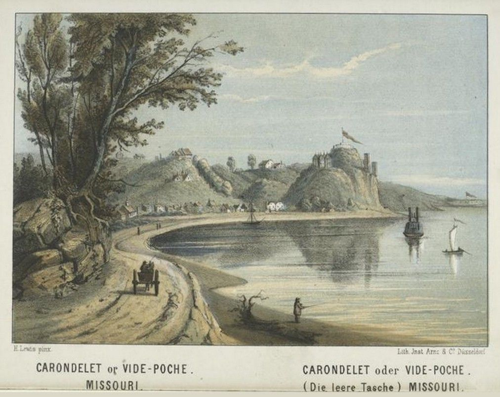 1854 1857 Carondelet Missouri View Is North Indian Mounds Artist Henry Lewis St Louis Visible Upstream Mound City Missouri North Indian