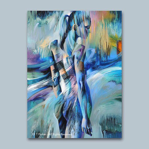 SIRÈNE bleu #2-Fine Art Print sur papier texturé ou toile - édition - Poser Papier A Peindre