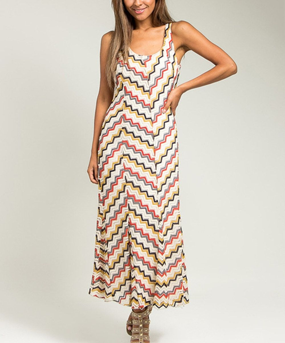 Look at this Cream & Pink Chevron Maxi Dress on #zulily today!
