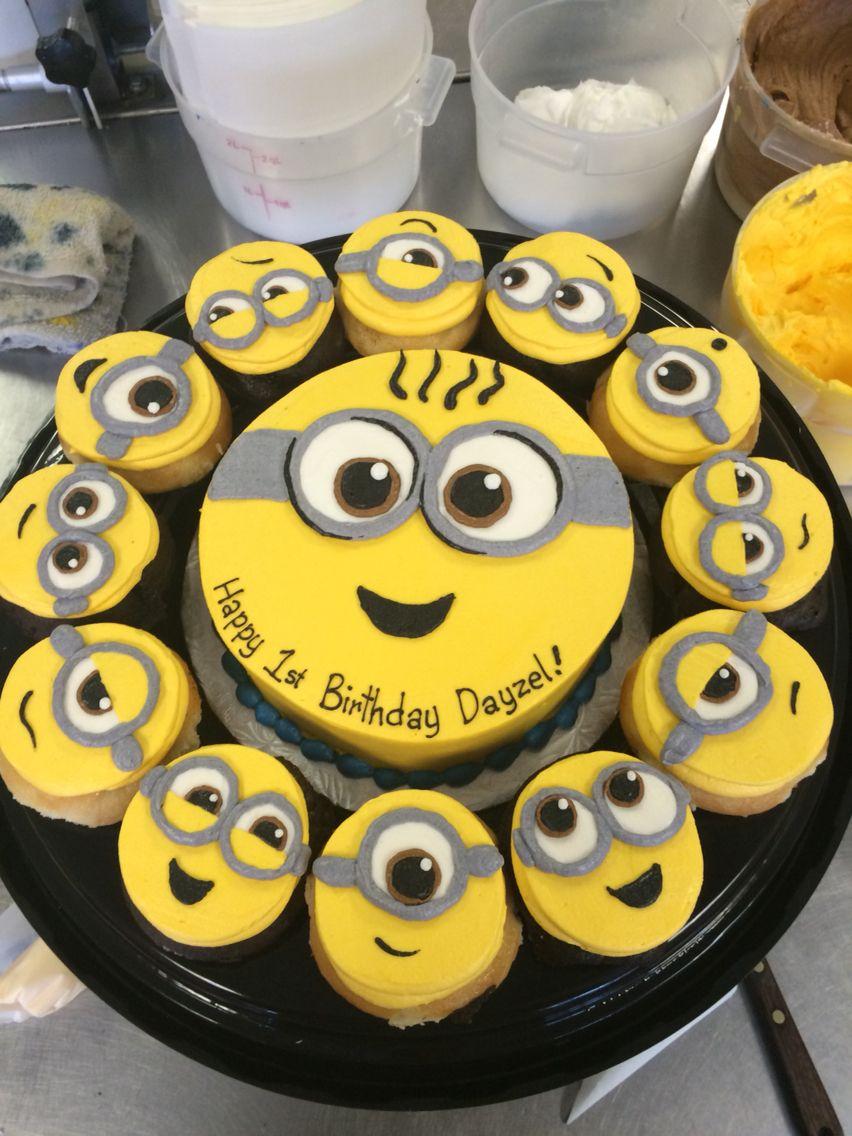 Minion cake and cupcake tray I made at work Too cute All