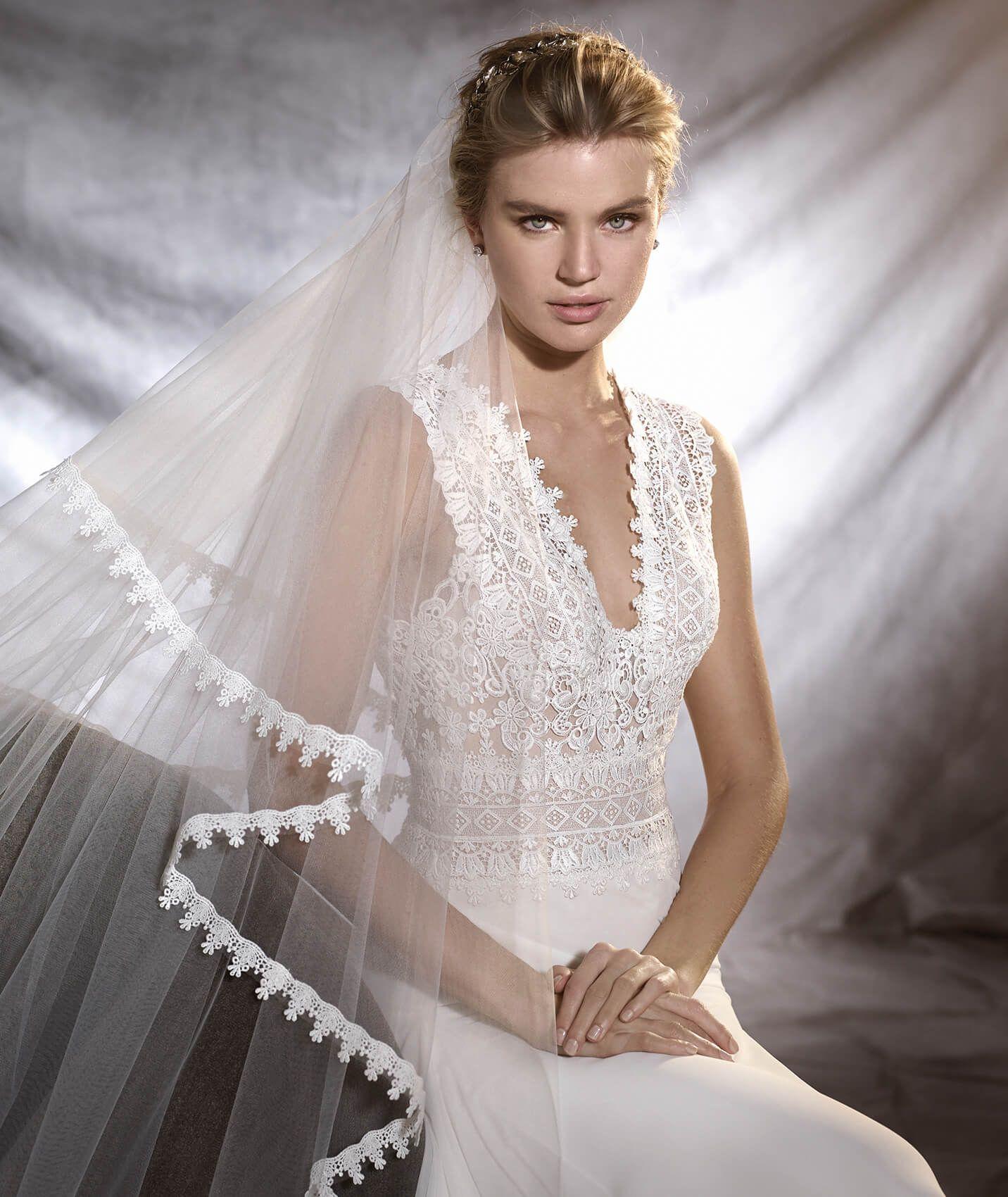 Pronovias > OROBIA - Vestido de noiva de gaza, guipura e tule