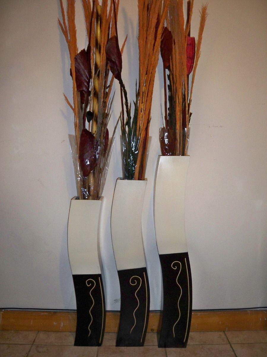 Juego de jarrones de madera minimalistas modernos for Jarrones decorativos grandes