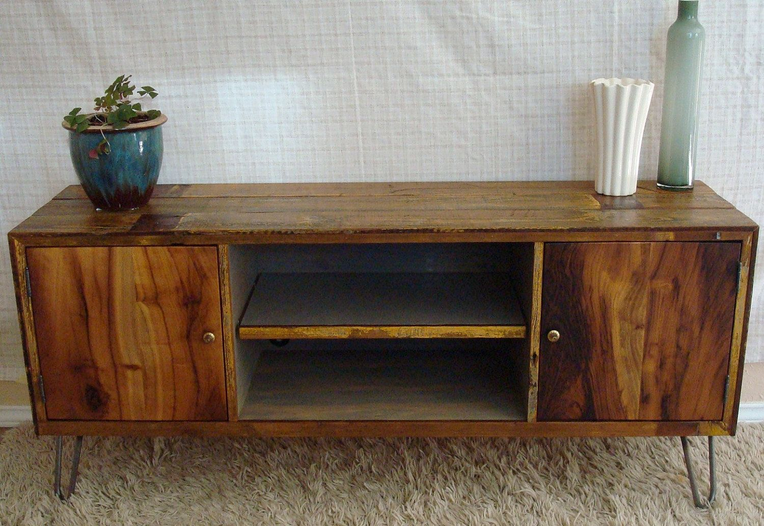 Rustic Reclaimed Mid Century Inspired Entertainment Center Tv Stand Made To Order 1 700 00 Via Etsy