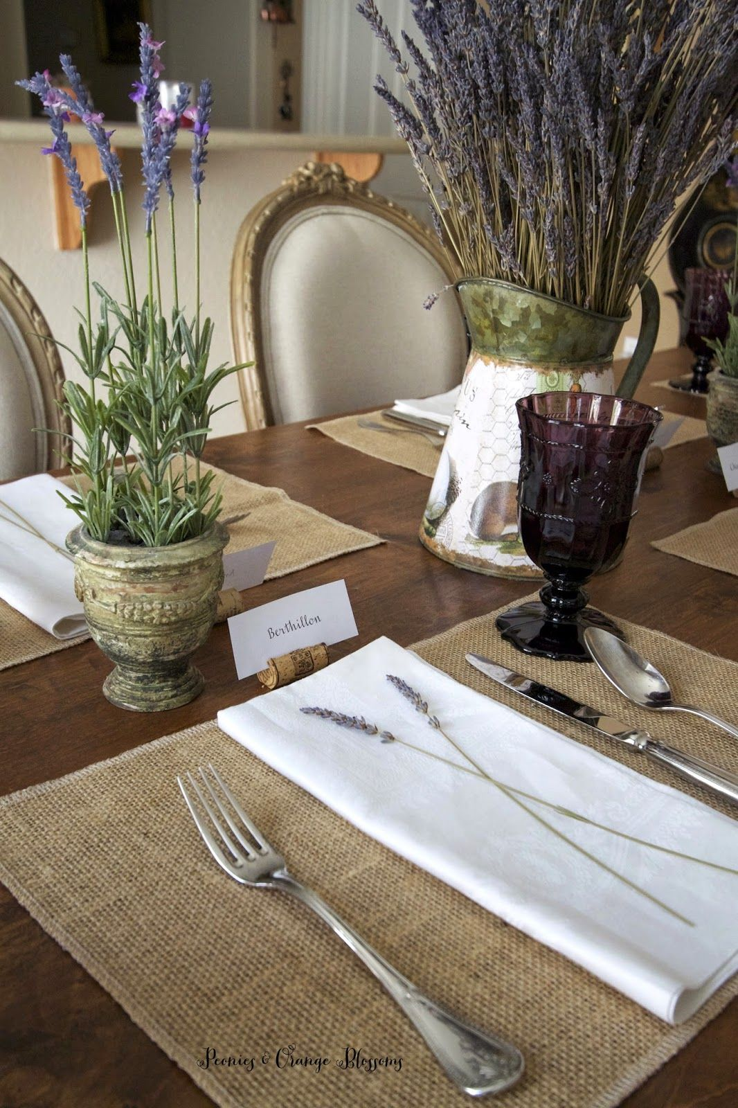 Lavender French Country Table Setting Tablescapes