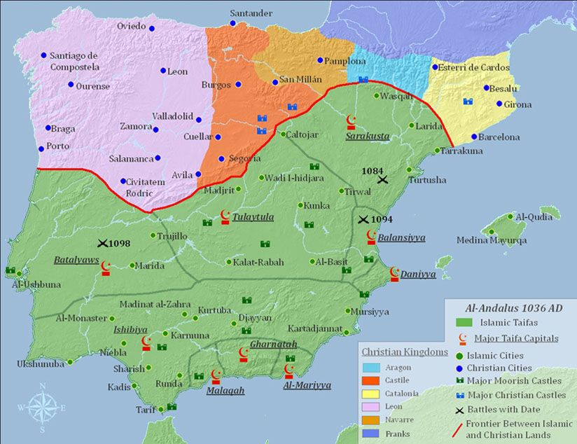 Map Of Spain Geography.Islamic Spain And The Reconquista History Espana Historical Maps