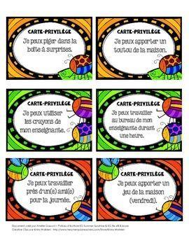 Cartes Privileges Recompenses Kindergarten Behavior Teaching French Classroom