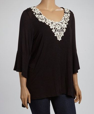 Black & White Floral Lace Top - Plus #zulily #zulilyfinds