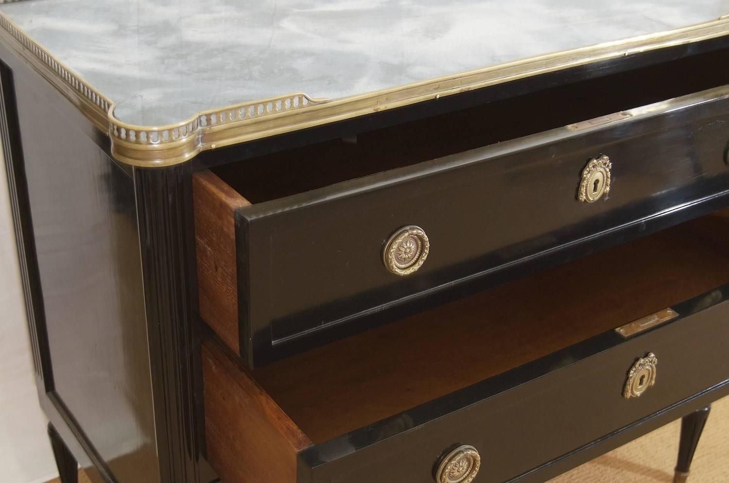 Louis XVI Style Ebonized Commode with Mirror Top | From a unique collection of antique and modern commodes and chests of drawers at https://www.1stdibs.com/furniture/storage-case-pieces/commodes-chests-of-drawers/