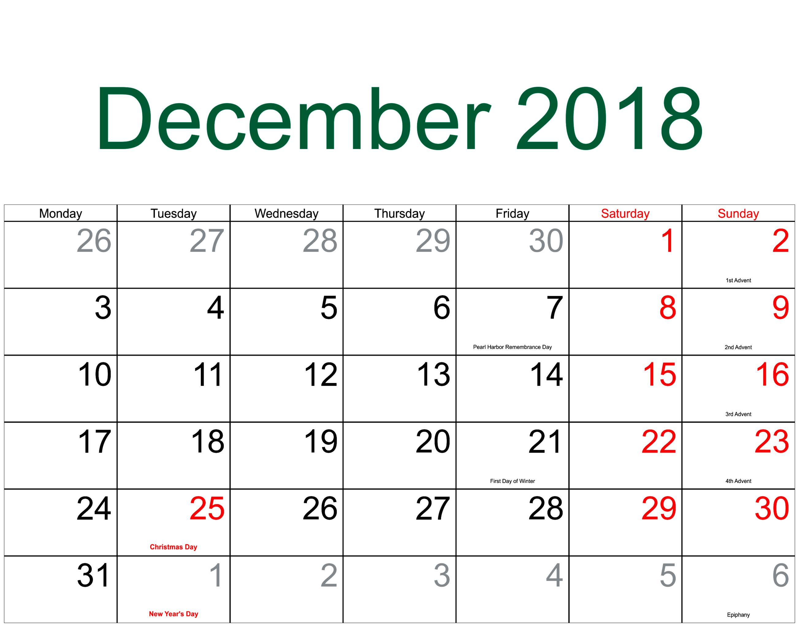 december calendar 2018 for landscape landscape