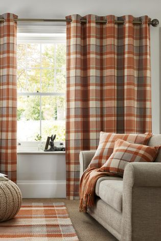 Buy Ginger Rustic Woven Check Eyelet Curtains From The