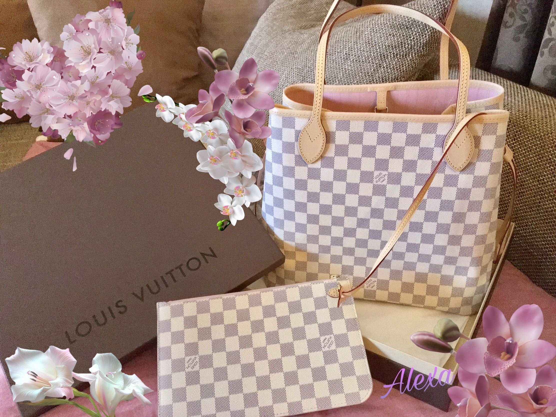 63979c24b my 💞 Neverfull MM, Rose Ballerine, Damier Azur Canvas Louis Vuitton  Neverfull Mm,