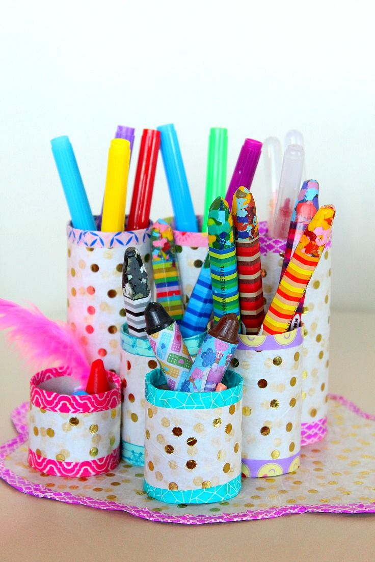 diy pots crayon avec rouleaux papiers toilettes rouleaux de papier toilette bricolage enfant. Black Bedroom Furniture Sets. Home Design Ideas