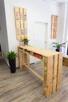 Table haute avec des palettes | pallet table | Bureau ...