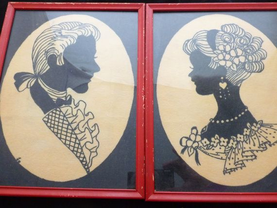 Pair Shiny Happy People Romantic Couple Silhouette by FunkAndMore, $26.00