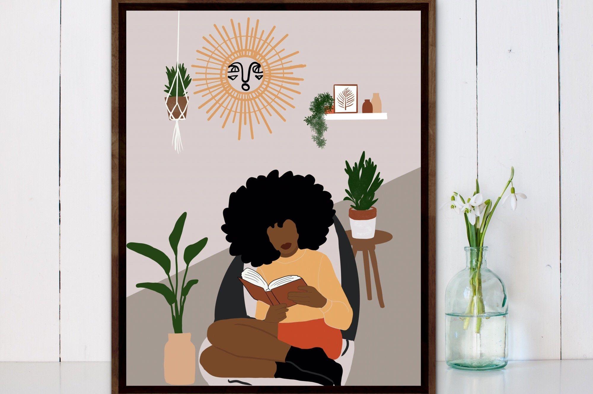 Boho Art Print Black Girl Art Print Woman Reading Book Wall Art Printable Download African Woman Art INSTANT DOWNLOAD Black Woman Art