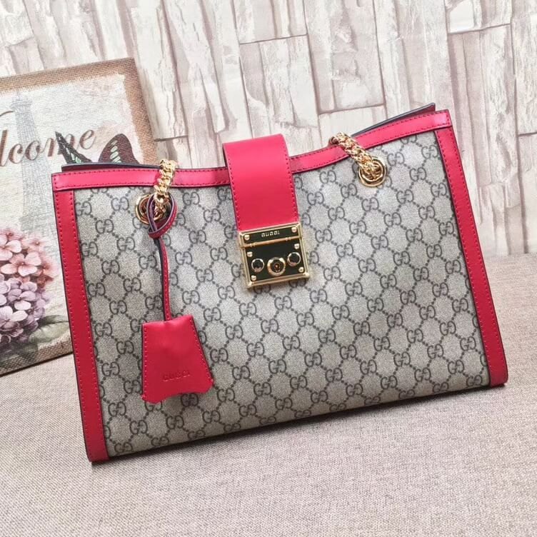 dc4f4d95793 Gucci Padlock GG Supreme Canvas Shoulder Bag 479197 Red 2017