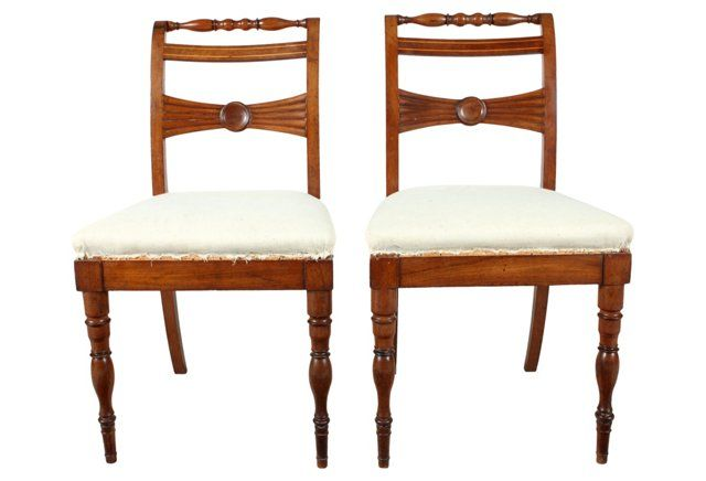 English Regency Style Hall Chairs, Pair