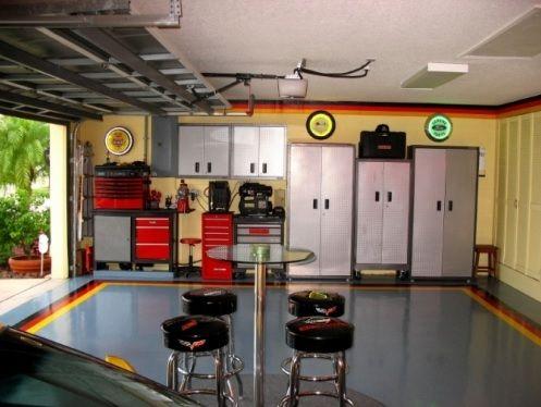 Painted Garage Floor Design Attic Renovation Man Cave Garage