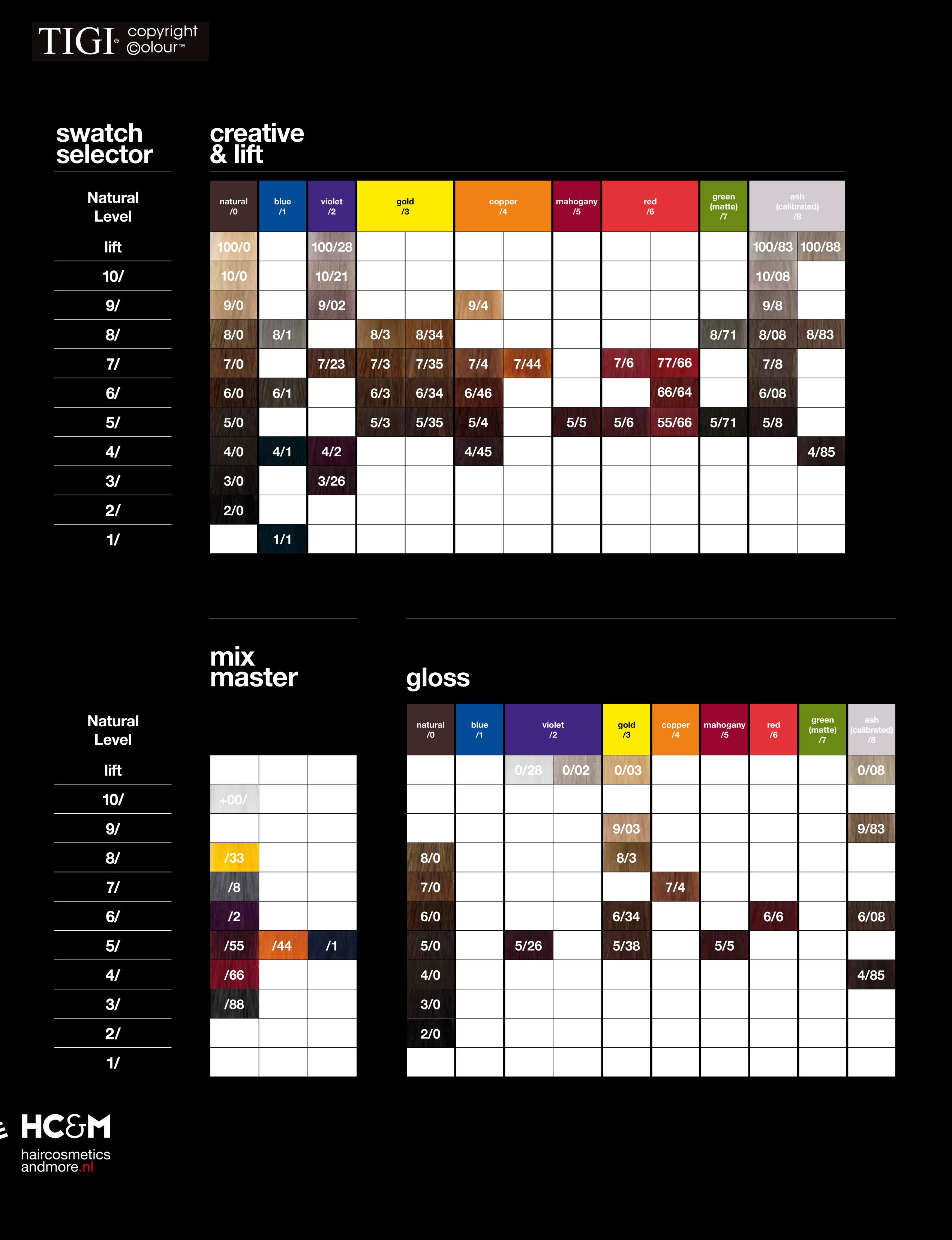 Tigi Copyright Colour Swatch Chart Hair Color Chart Hair Color Hair Color Formulas
