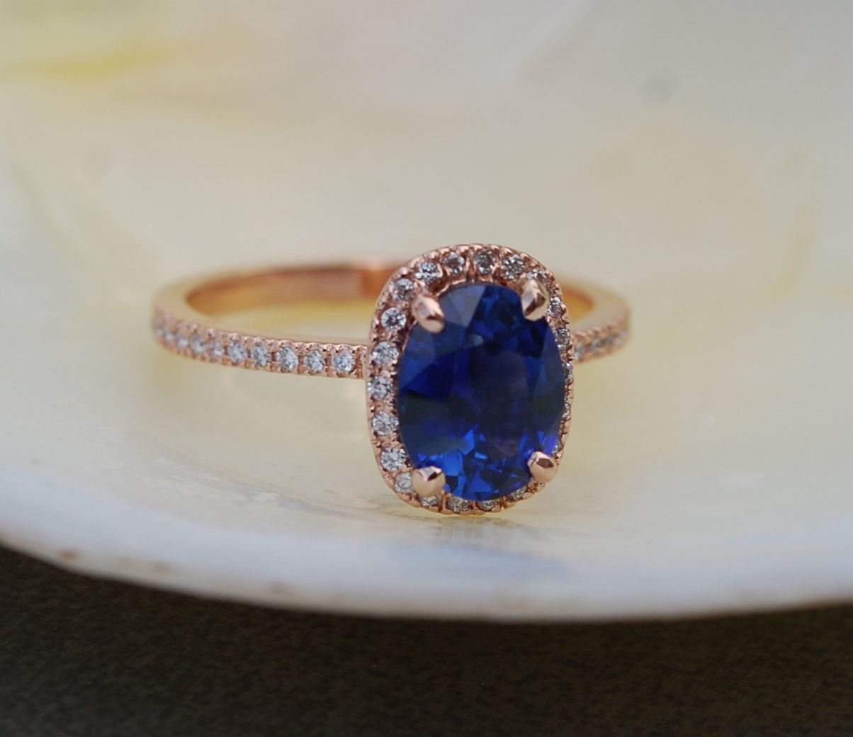 1 85ct Royal Blue Shire Diamond Ring 14k Rose Gold Oval Engagement Rings By Eidelprecious Wedding Weddinginspiration Jewelry