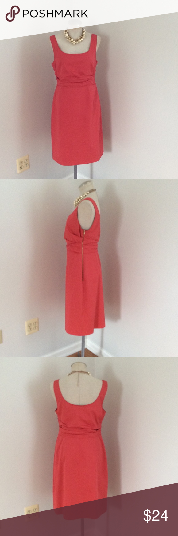 "Elie Tahari Coral Dress Coral dress by Elie Tahari in a size 12. Just back from the dry cleaners. 39"" bust, 32"" waist Elie Tahari Dresses Midi"