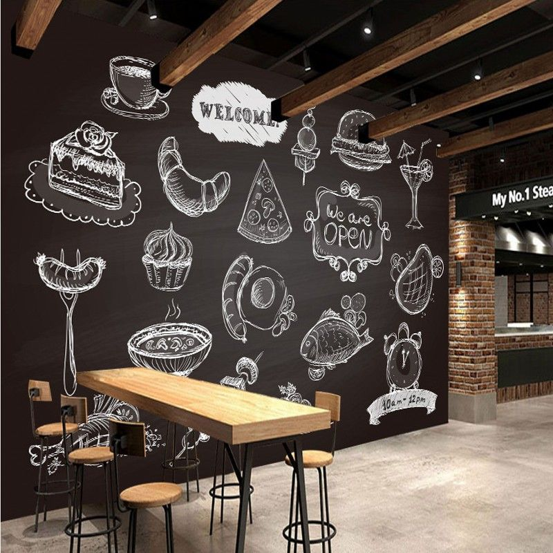Kitchen Wallpaper Coffee: Hand Painted Food Painting Living Room Lobby Restaurant