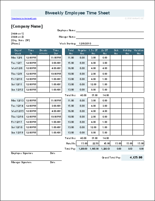 Time Sheet For California Overtime  Payroll    Sample