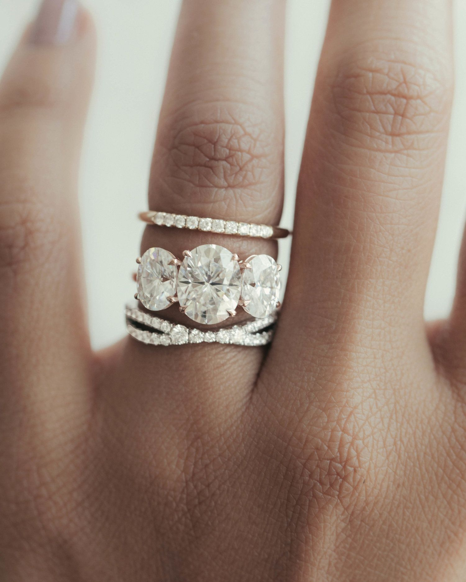 French Pave wedding band + Oval Three stone Engagement