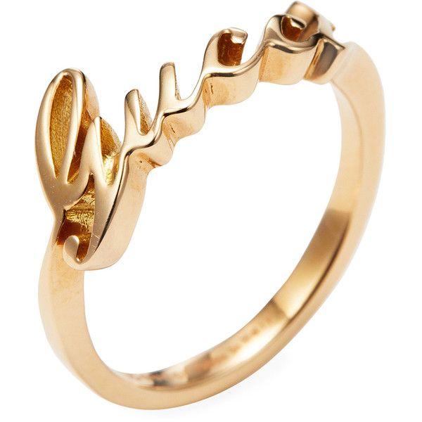 00e04b8c4 Gucci Women's Vintage Gucci 18K Yellow Gold Script Ring - Gold, Size ...