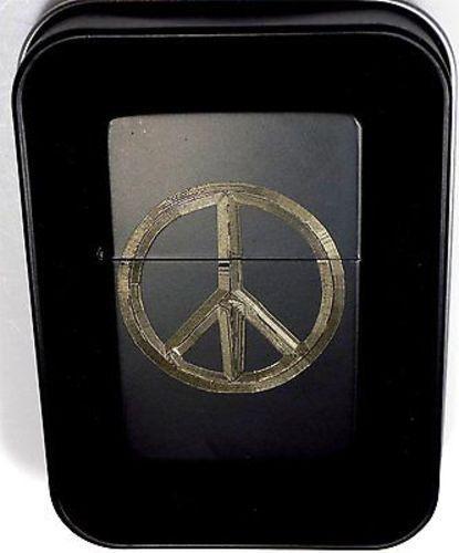 Peace Symbol Black Gift Engraved Chrome Cigarette Lighter Biker Gift LEN-0062
