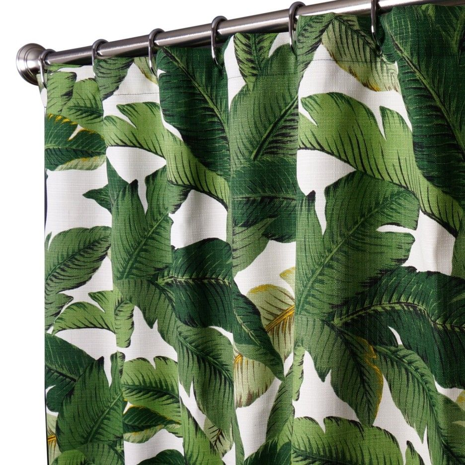Interior Tropical White Curtain Decor With Dark Green Leaves