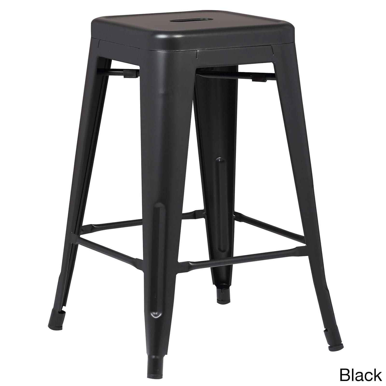 Poly and Bark Trattoria 24 Inch Counter Stool (Set of 4) (Black ...