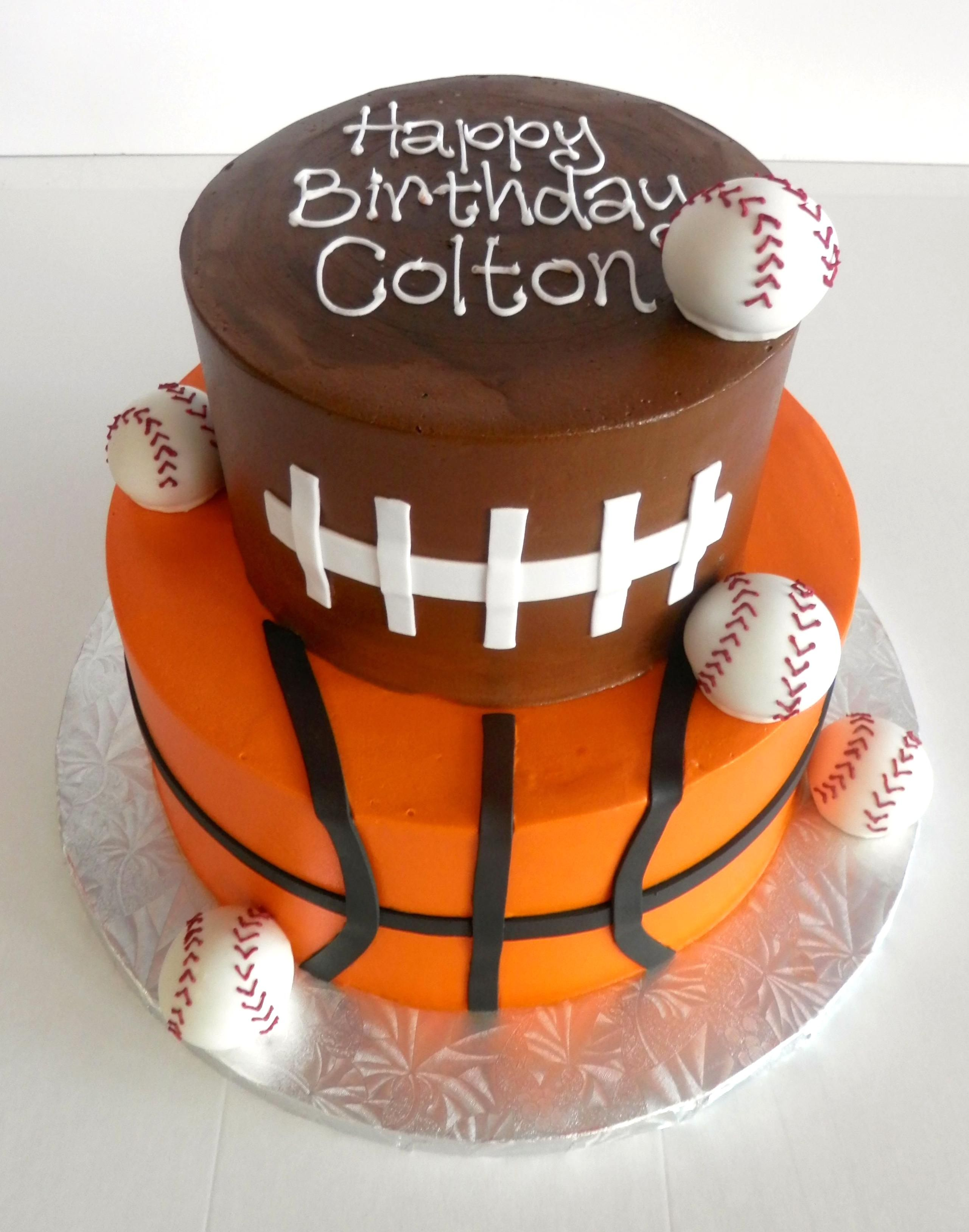 Hbd Colton Basketball Football Baseball Boysbirthday Cake In 2020 Birthday Cake Kids Basketball Cake Sport Cakes