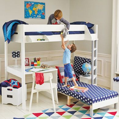 Merlin High Sleeper With Navy Star Sofa Bed Great Little