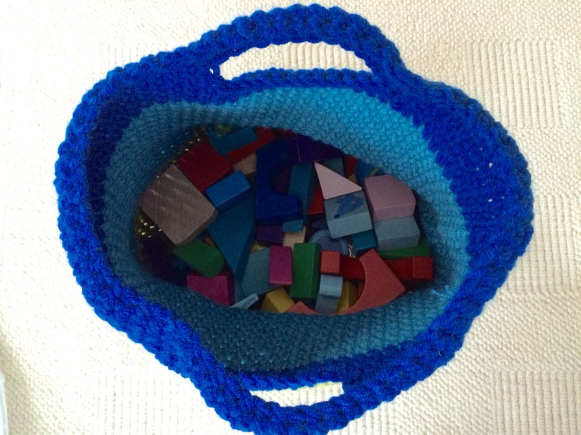 Large crochet basket inside view