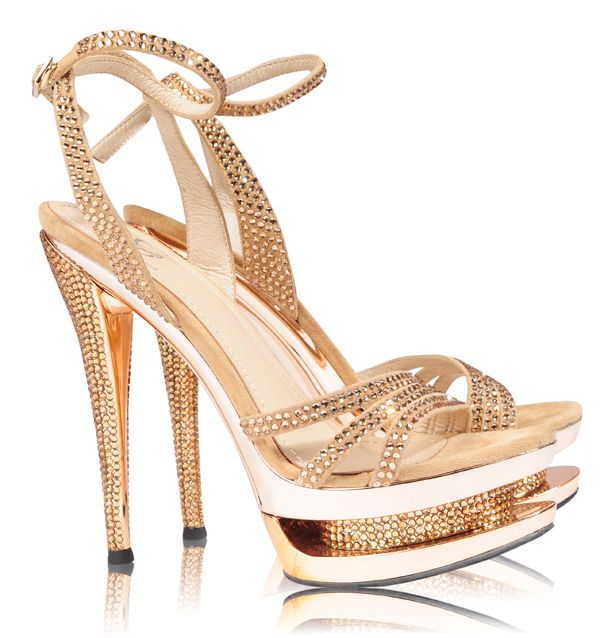 Shoes Heels Glam Gold Real Crystal Strappy Platform