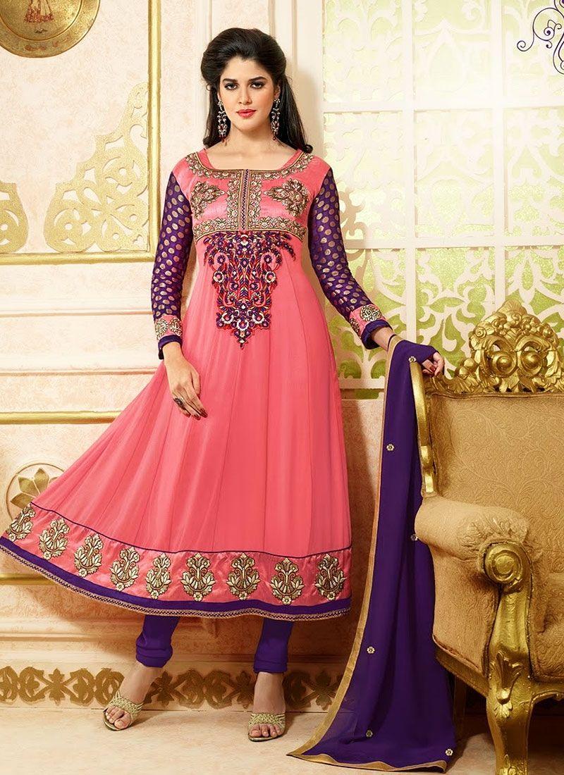 Flasher Pink Georgette Anarkali Suit