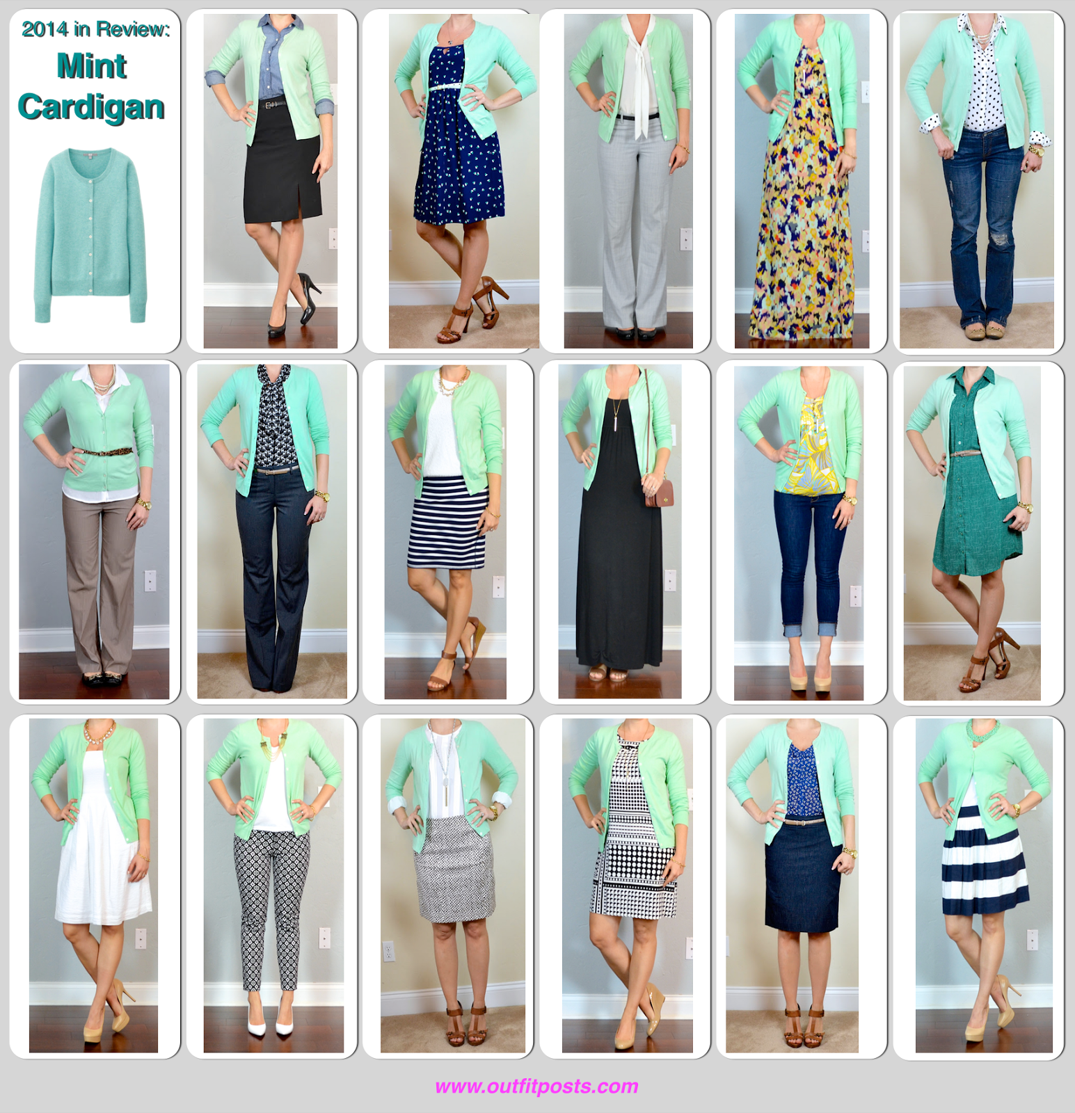 2014 in review \u2013 outfit posts mint cardigan \u2013 17 ways