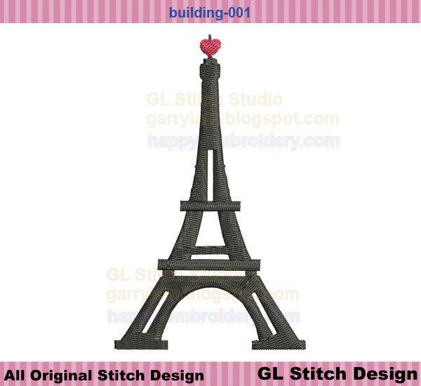 Eiffel Tower Embroidery Design Paris Filled Stitch Machine Embroid
