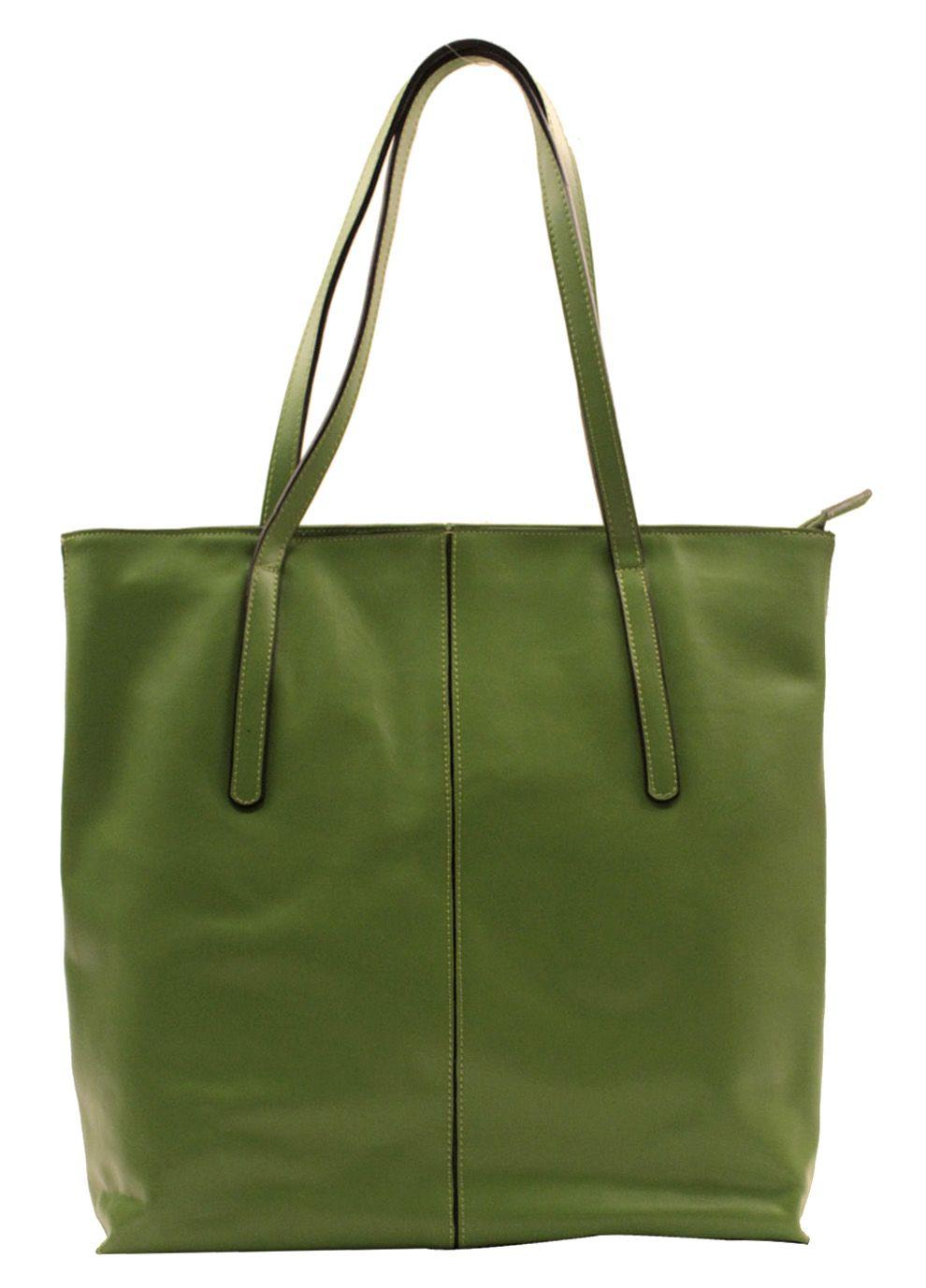 Simple Elegant Calfskin Tote - Green